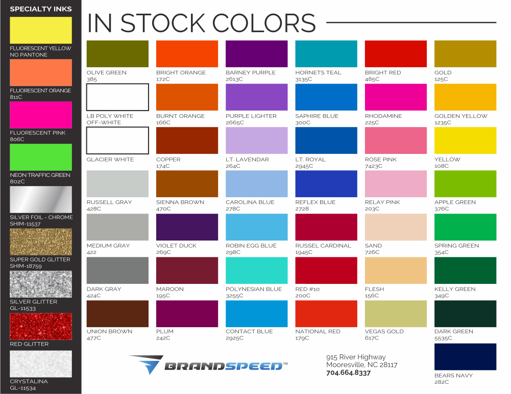 Stock ink colors